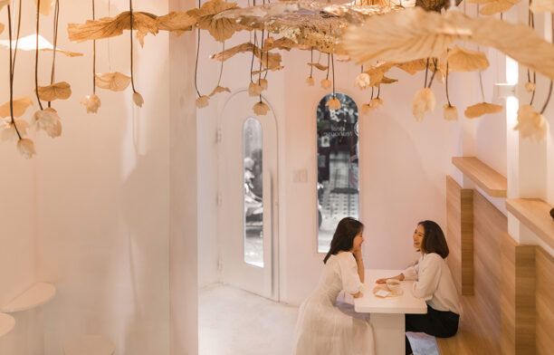 Modern teahouse tea art installation in Ho Chi Minh City, Vietnam | interior design