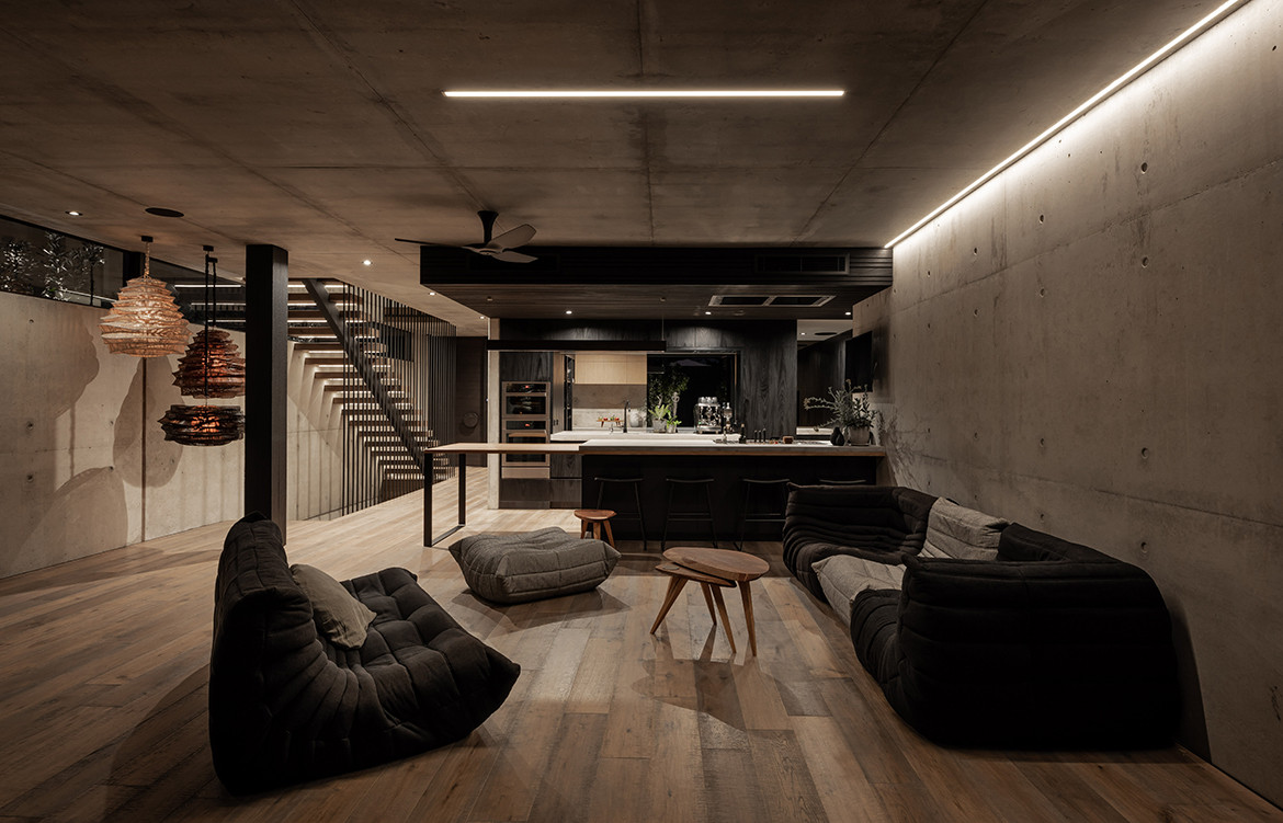 Vodka Palace by Marcus Browne Architect | interior architecture | contemporary interior design | Australian design | concrete render | brutalist design | kitchen joinery | Togo sofa
