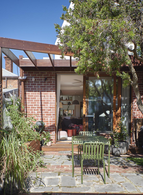 The Brunswick home's backyard exterior.