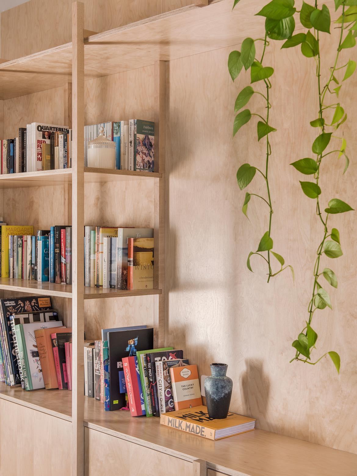 Plywood bookshelves.