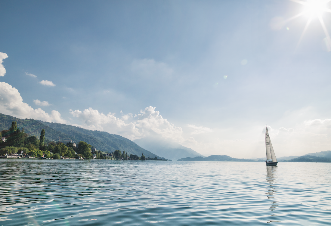 Sailing boat on a lake.