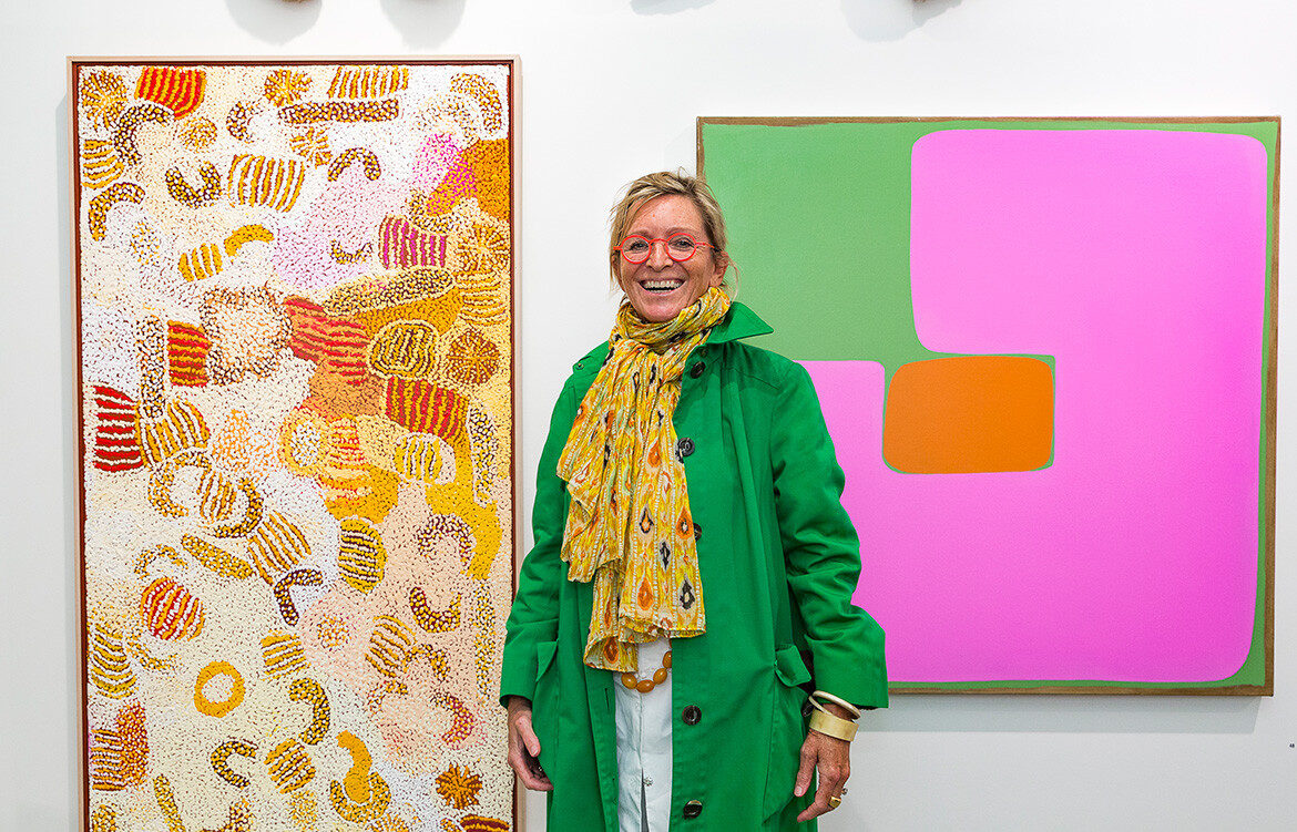 Art collector Nicky Townsend pictured with artworks from her private collection on exhibition at Shapiro Gallery during Art Month Sydney 2020
