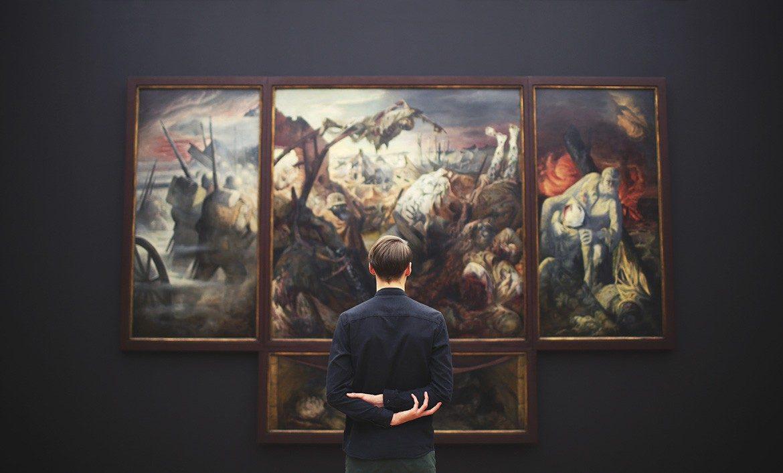 Australian Council For The Arts admiring artwork