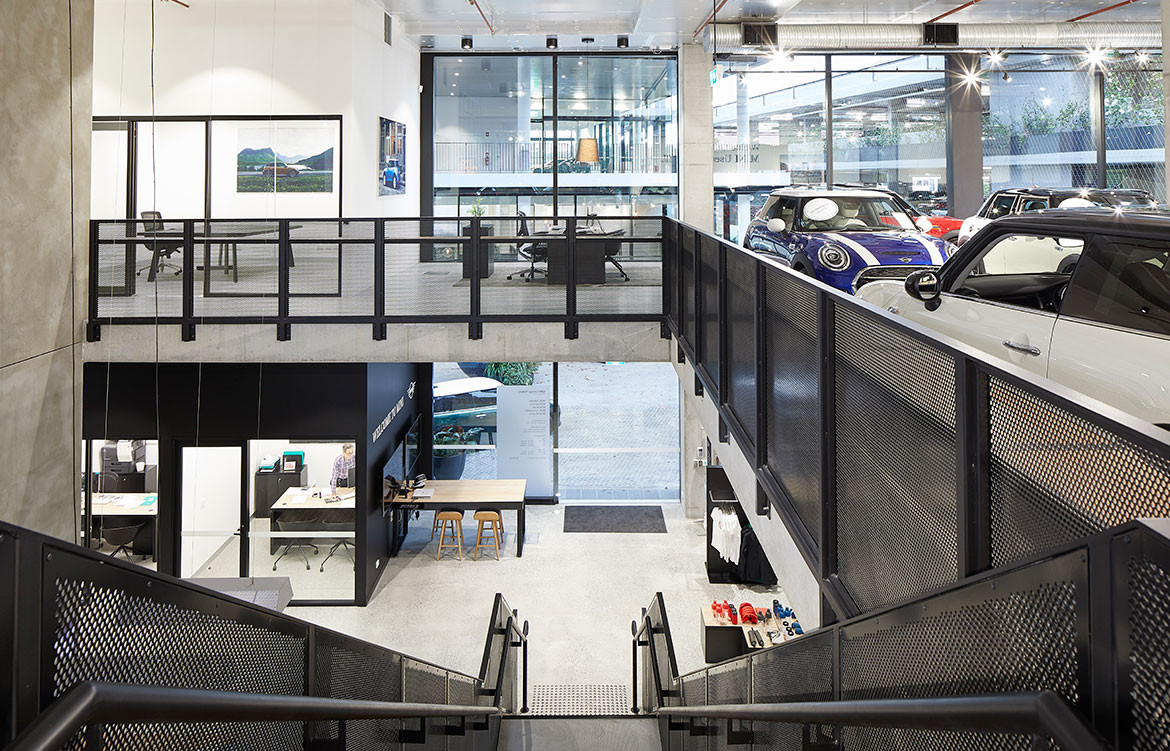 BMW MINI Car Showroom by SJB CC Marin Mischkulnig stairs