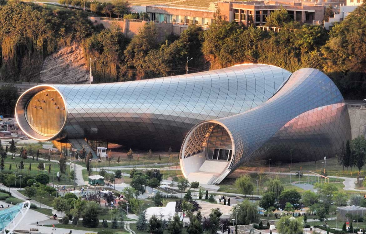 Rhike Park Music Theatre and Exhibition Hall by Studio Fuksas. Photography by Joel Rookwood