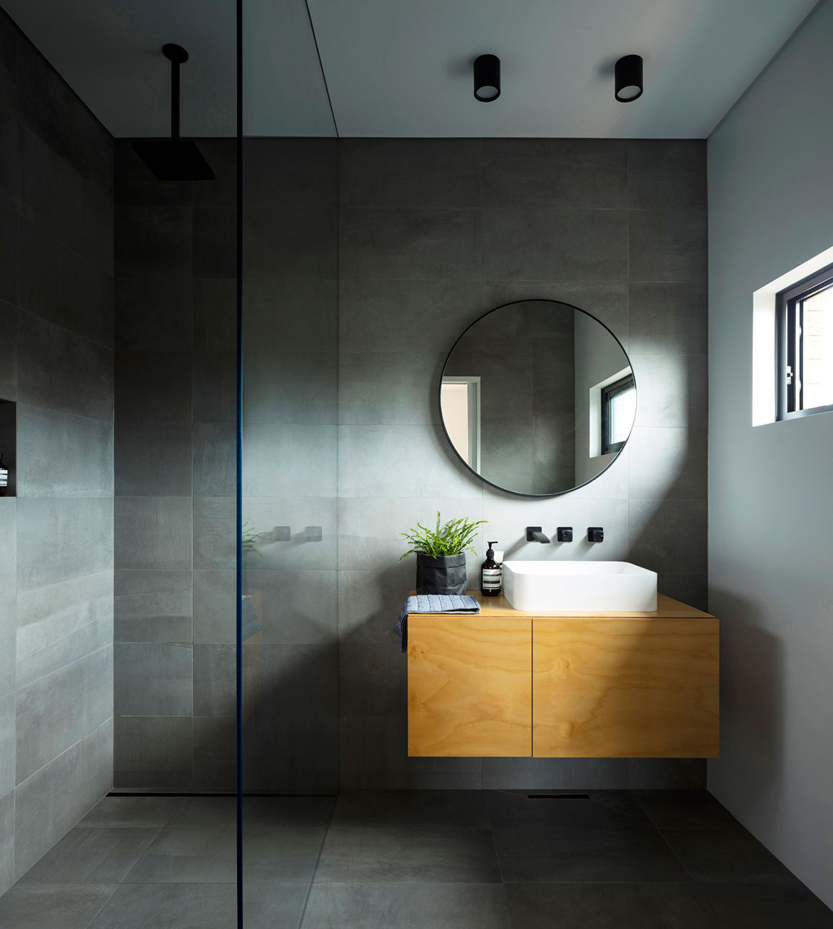Binary House Christopher Polly Architect cc Brett Boardman shower and vanity