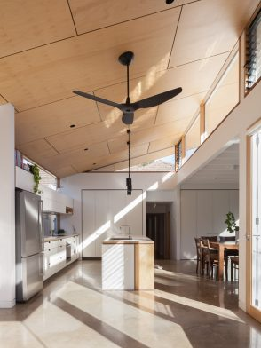 Sustainable design collaborations   Modern open-plan white kitchen design by Cantilever Interiors and Ben Callery Architects