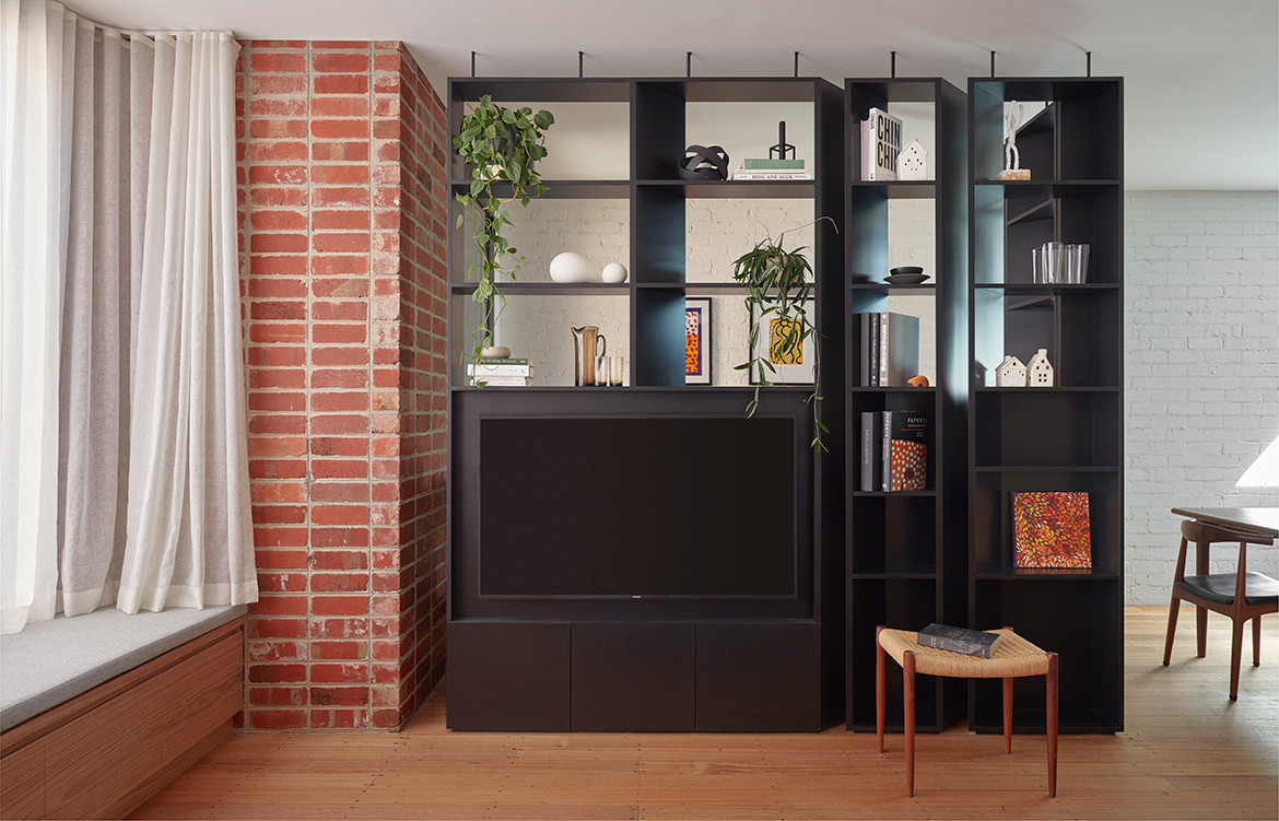 Brick and Gable Terrace House Breathe Architecture CC Tom Ross shelving detail