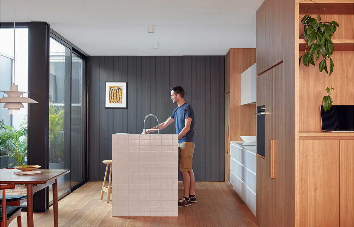Brick and Gable Terrace House Breathe Architecture CC Tom Ross kitchen area