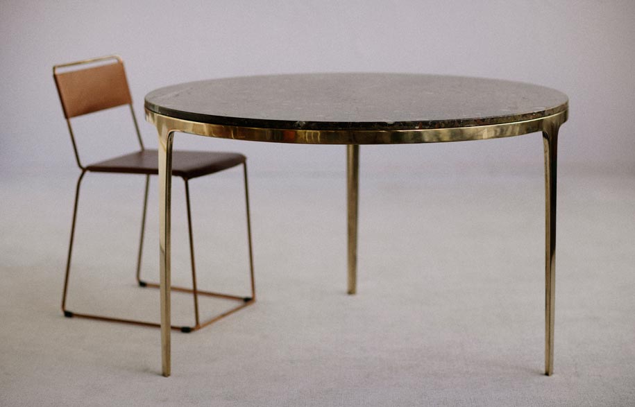 Bronze-table-and-Uccio-leather-dining-chair