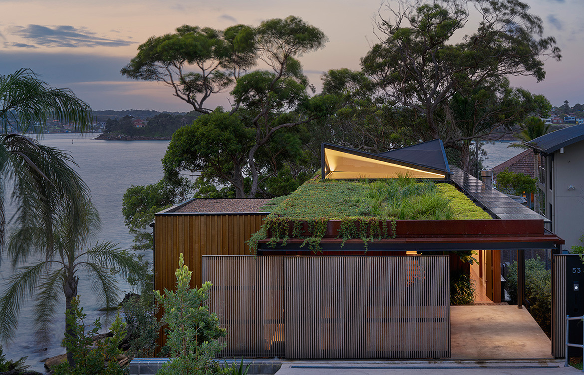 The passive solar design of Bundeena Beach House by Grove Architects is enhanced by the rooftop garden, which reduces heat absorption, increases insulation and collects rainwater for irrigation.