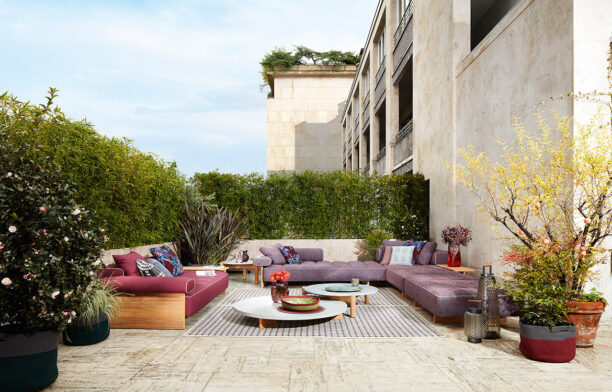 Sail Out sofa and low coffee table designed by Rodolfo Dordoni for Cassina