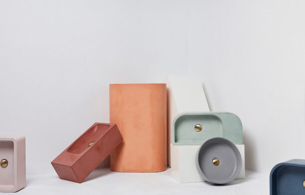 The Pod Collection of handcrafted concrete basins by Concrete Nation is available in 15 colours including including dusty pink, nude, snow white and deep ocean.