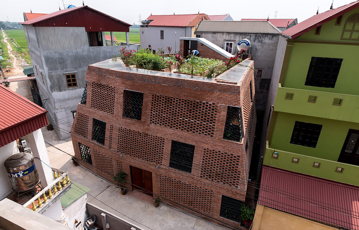 Brick Cave H&P Architects Nguyen Tien Thanh ariel view