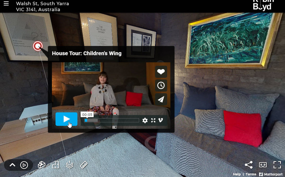 A small video pop up with a girl on it as part of the Walsh Street Virtual Tour