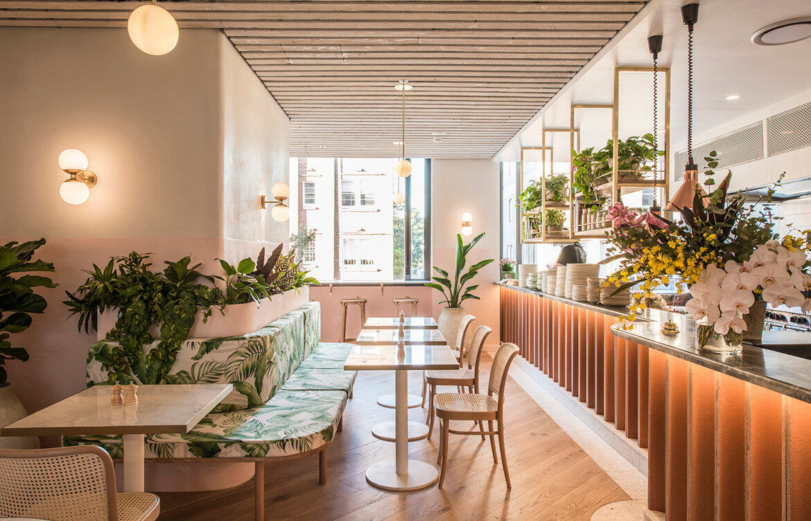 Eden Bondi by De Simone Design | vegan cafe in Bondi, Sydney | beachy boho interior design