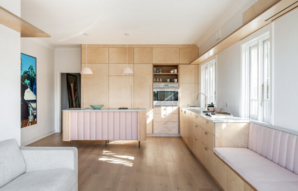 Art deco aesthetic built-in kitchen furniture design in Francis Apartment by Studio Weave