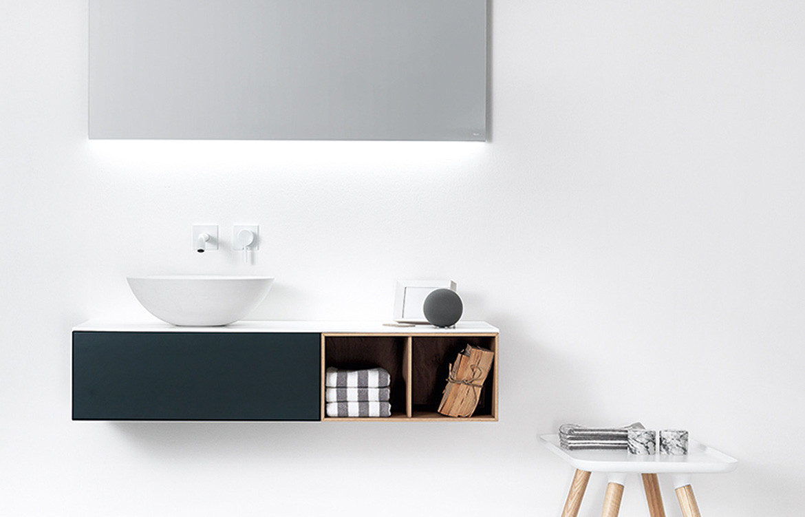 Grey and Oak Cabinet Basin