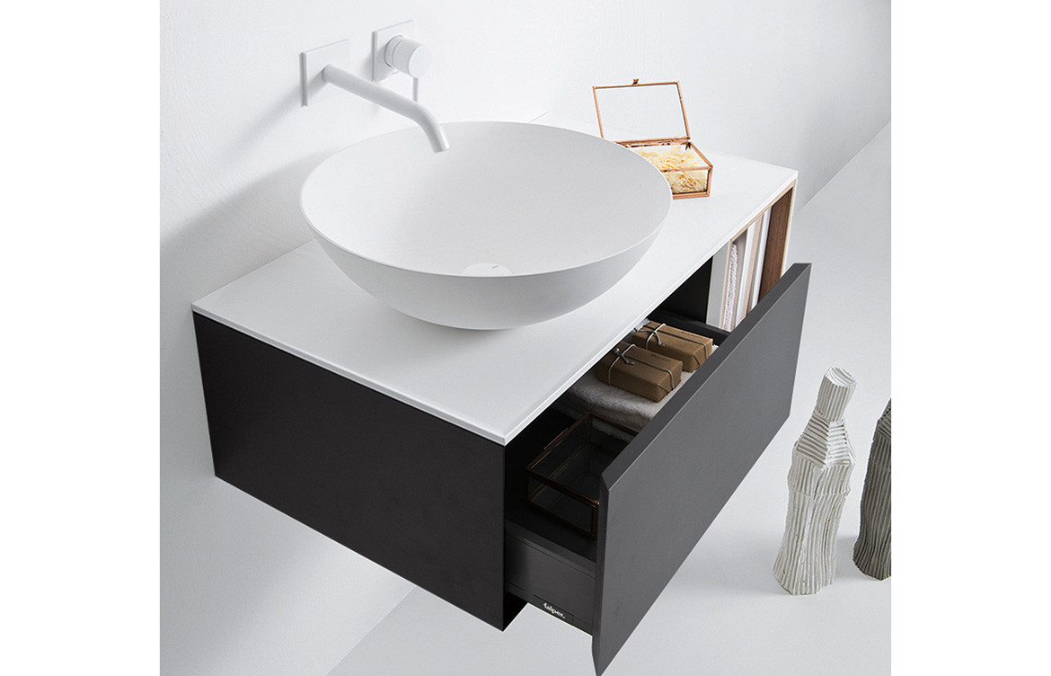 Grey and Oak Integrated Basin Cabinet