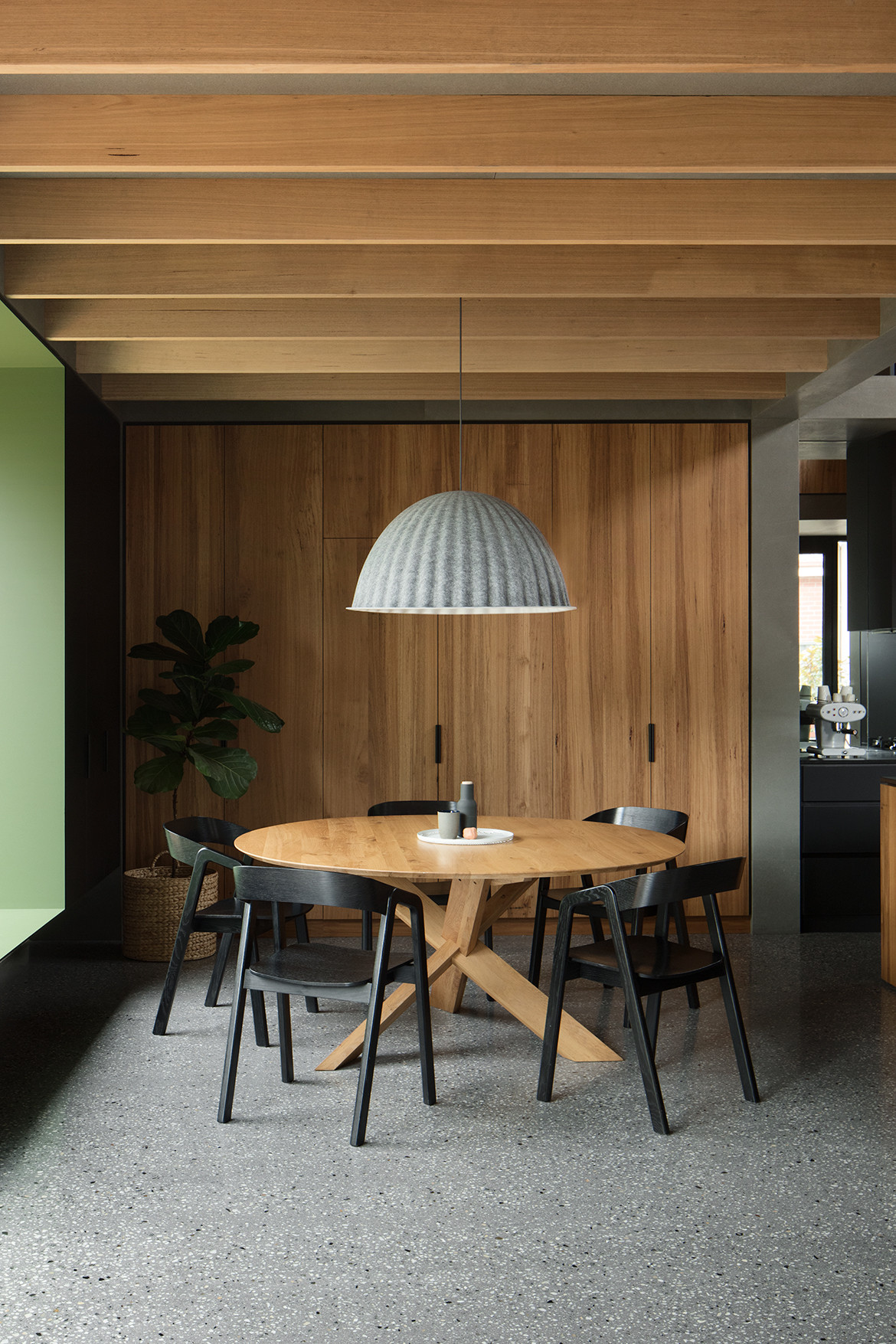 Dining table with black chairs