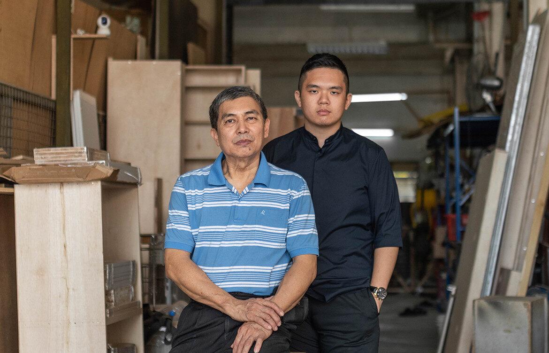 Hock Hoon's master craftsman Ng Chin Hock and interior designer Ng Ci En