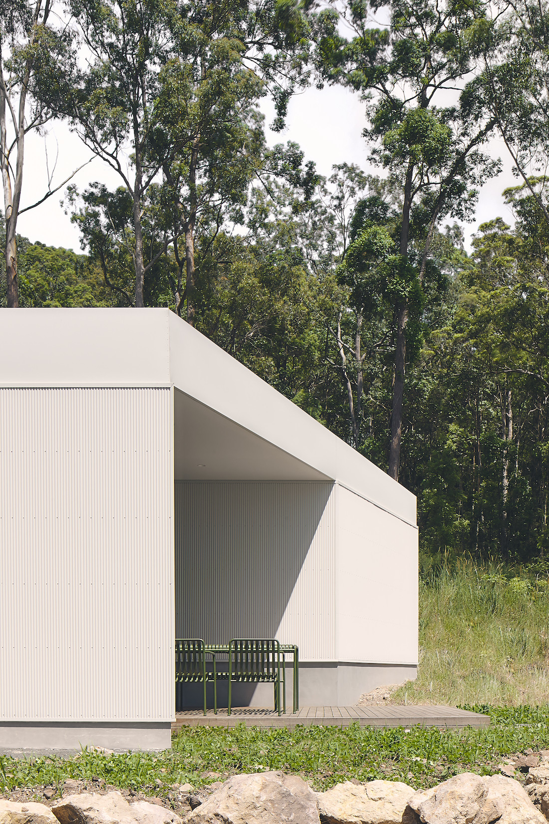 A-CH's Yandina Sunrise home has a white corrugated house exterior.