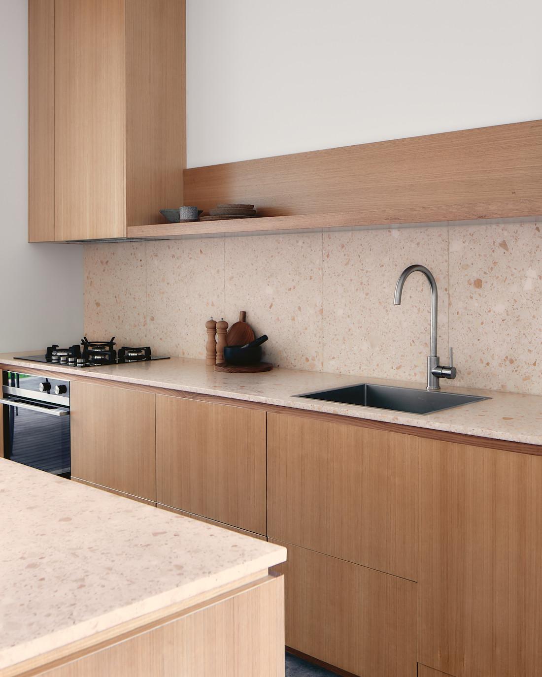Nougat terazzo and Victorian Ash wood kitchen in A-CH's Yandina Sunrise home.