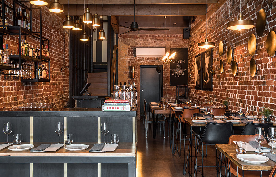 ISH Restaurant Melbourne Annu Bain CC Rhiannon Taylor exposed brick and brass highlights