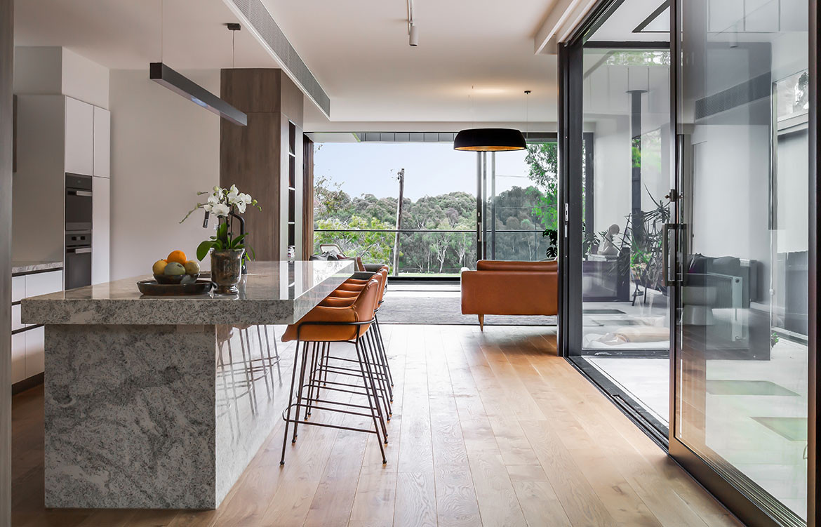 Kew East House Jost Architects CC Shani Hodson-Zoso open plan kitchen