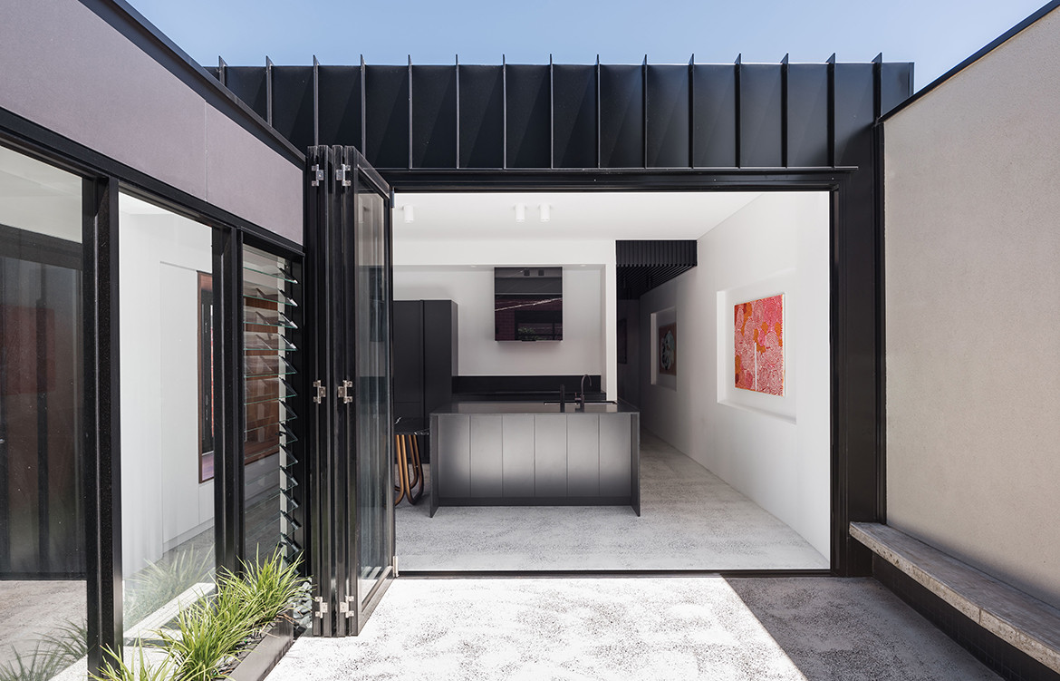 King George House by Robeson Architects | residential architecture | renovated heritage house | monochrome kitchen design