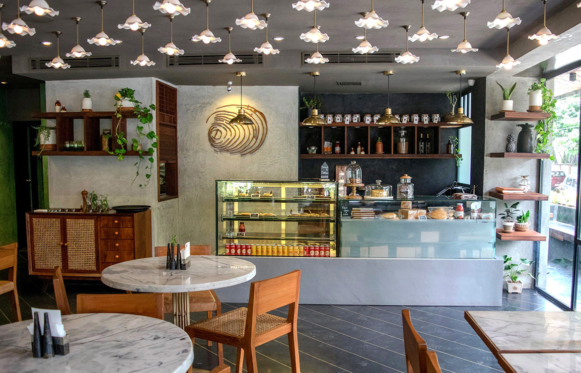 Little Green Cafe by Made in Earth Collective is a cafe in India made from rammed earth