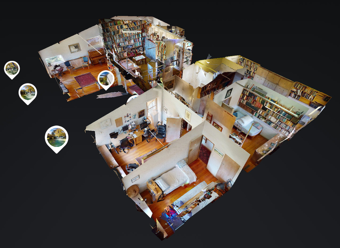 The birds-eye 3D view of the Manning Clark floor plan from its virtual tour.