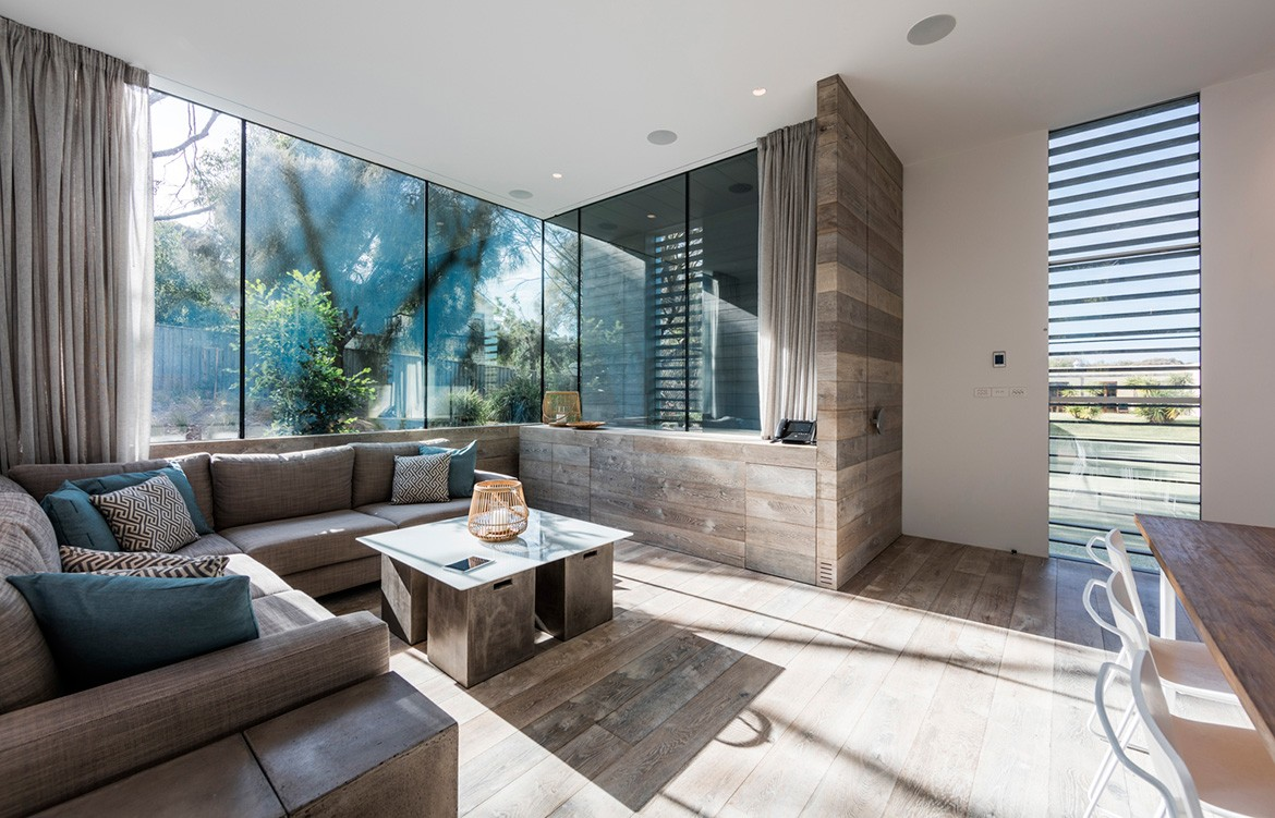 Mitsuori Architects Portsea Sleepout photography by Michael Kay living room