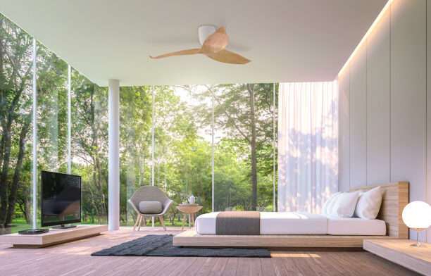 Aeratron AE3+ Ceiling Fan woodgrain light bedroom