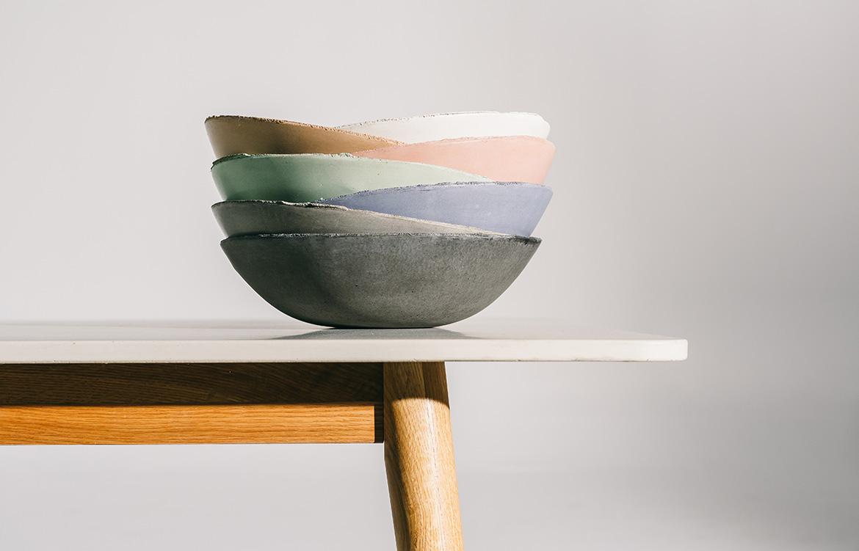 Nood Co Concrete coloured bowls