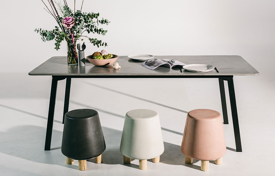 Nood Co Concrete dining table and stools