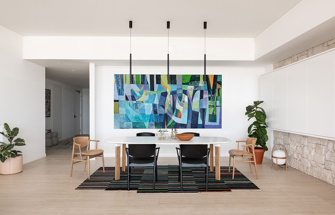 Overton Terraces Banham Architects cc Dion Robeson dining area art