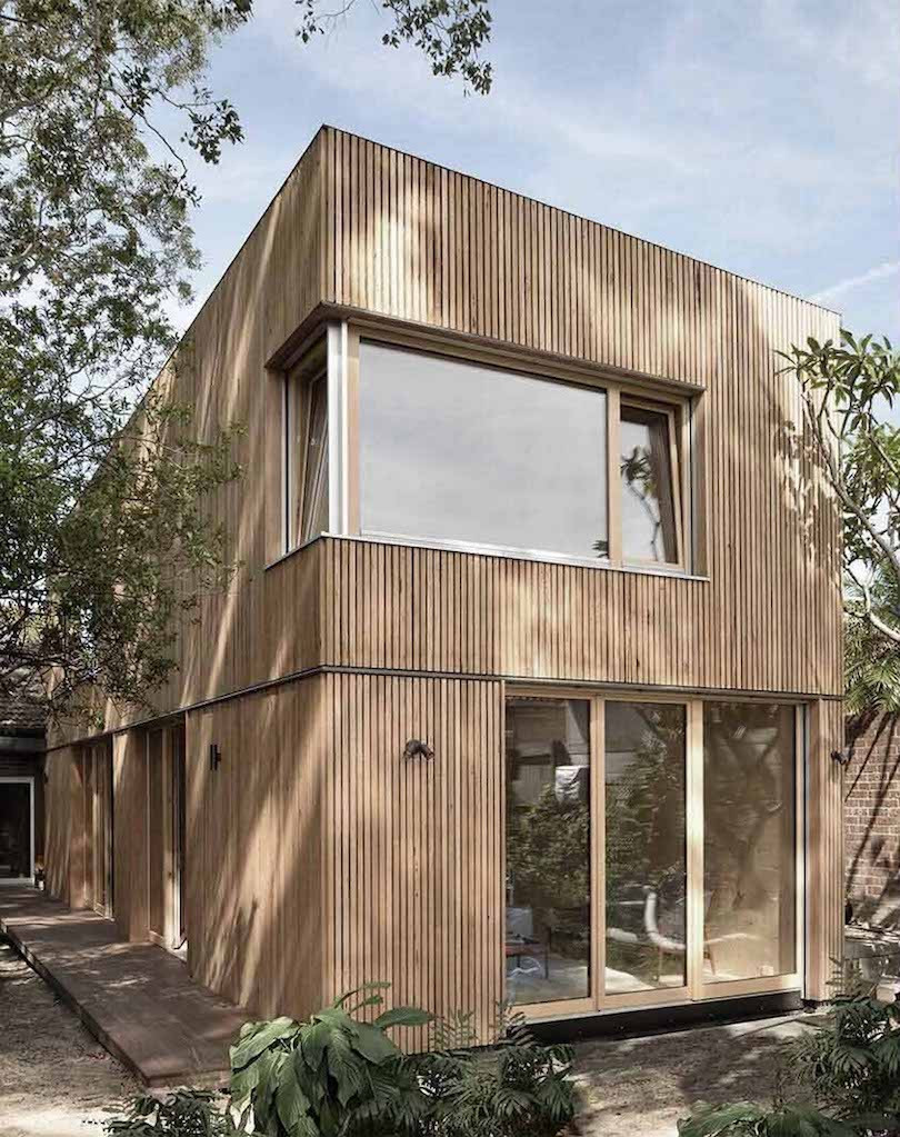 Exterior of the CLT house with blackbutt panelling