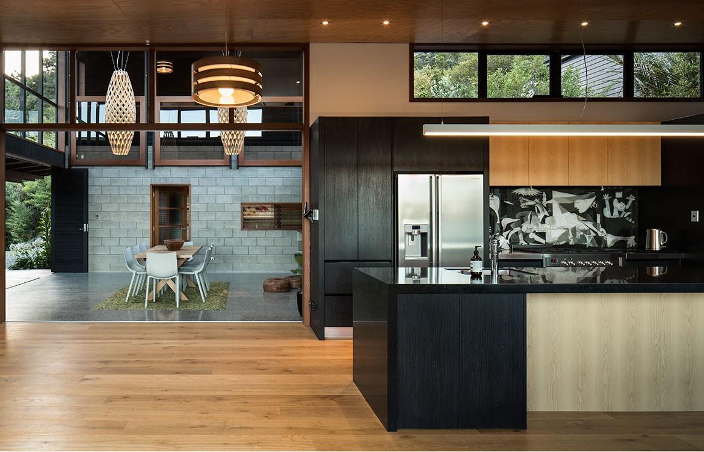 Pat De Pont Whare Koa kitchen