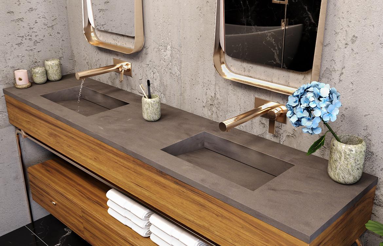Bathroom Grey Washplane Corian