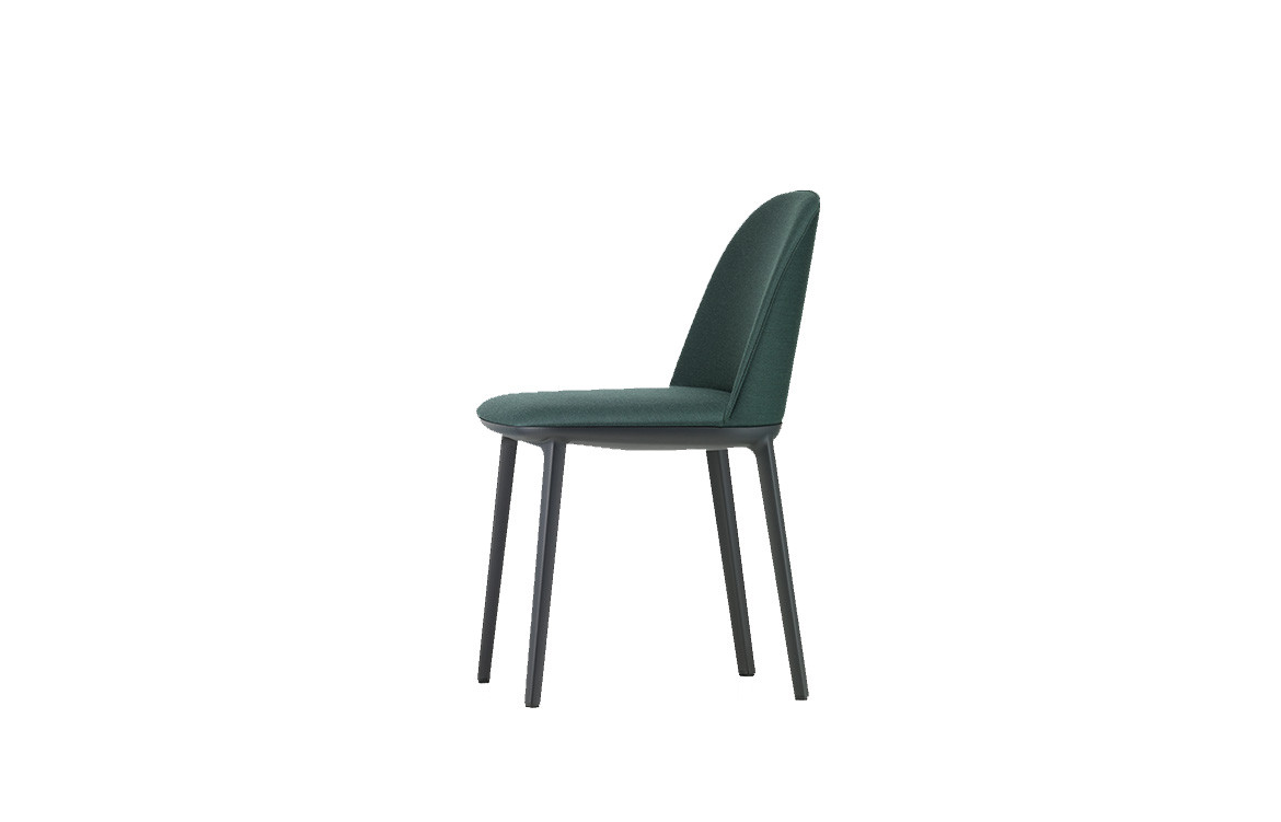 Softshell Side Chair with Four Legged Base in Dark Green 3