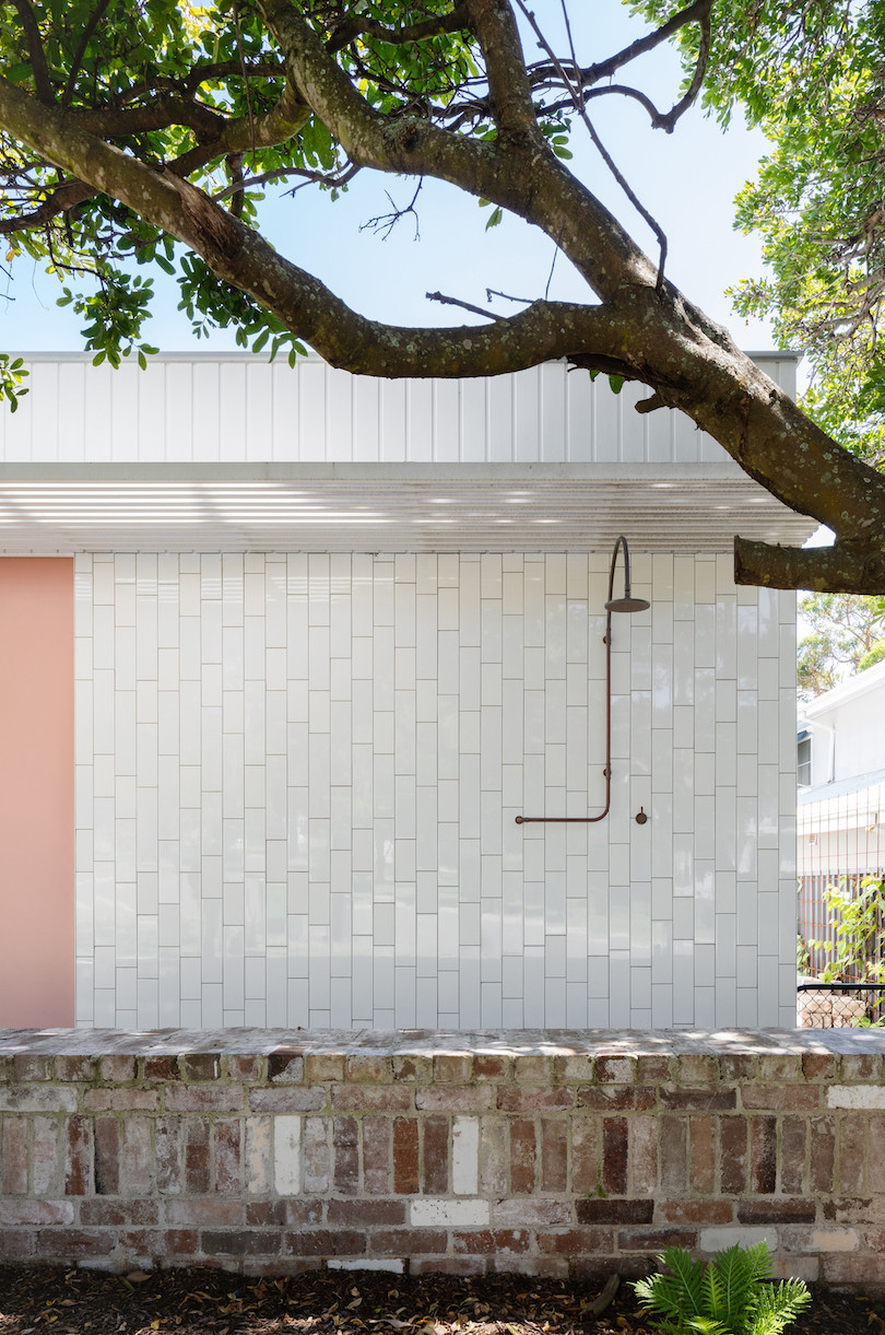 An exterior shower on Tribe Studio Architect's Bundeena Kit-Home.