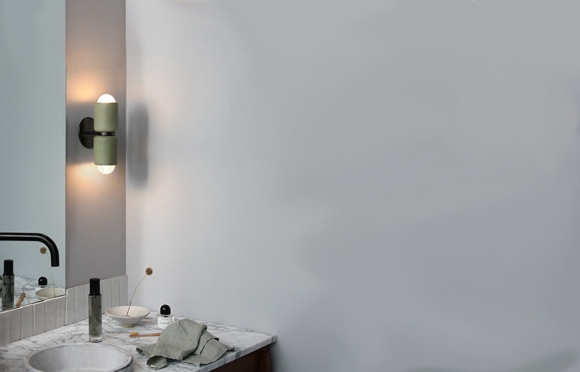 Terra 2 wall sconce by Marz Designs and Grit Ceramics