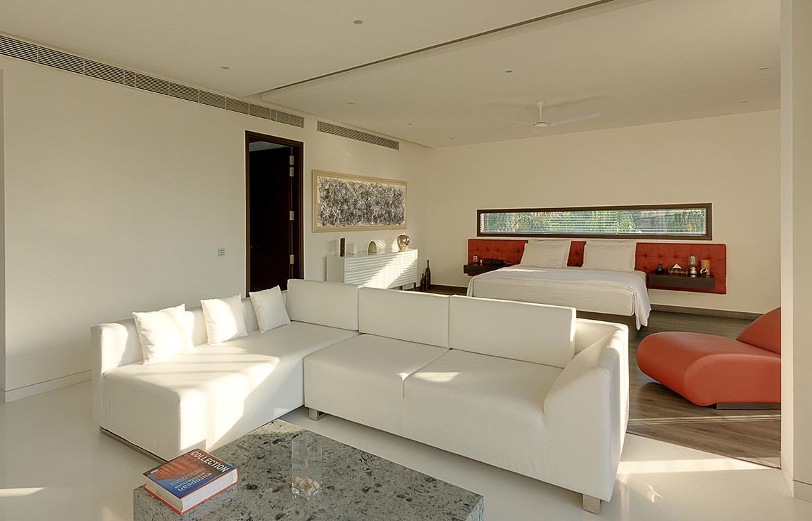 The Centre Court Villa Pomegranate Design bedroom lounge crimson sofa