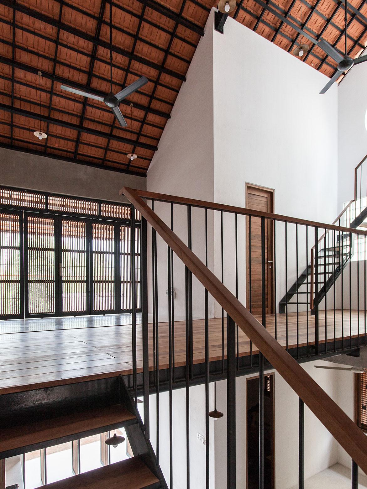 Tile Roof House Vietnam K59 Atelier | stair railing