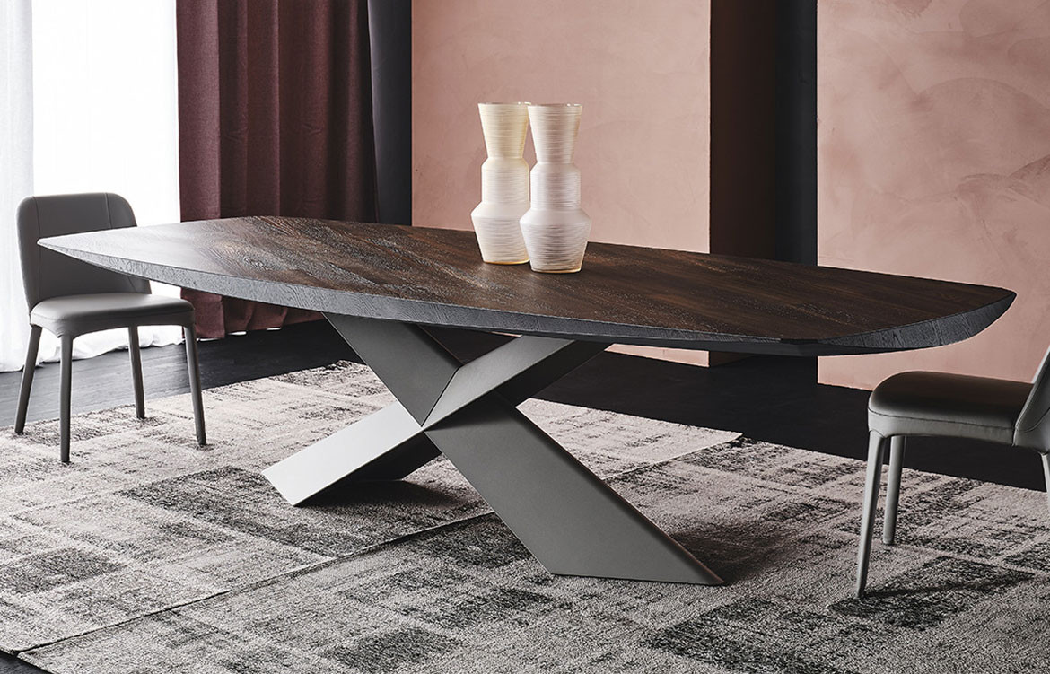 Tyron Wood Table Grey Pink Background