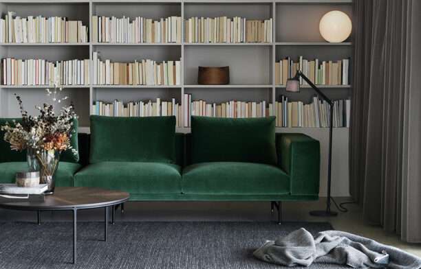Loft Sofa by Vipp furniture from Cult | industrial design | emerald green velvet couch