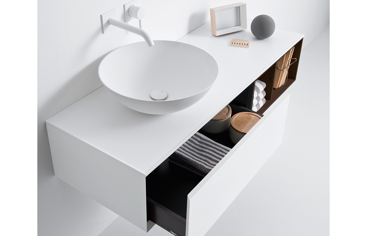 White and Walnut Integrated Basin Cabinet