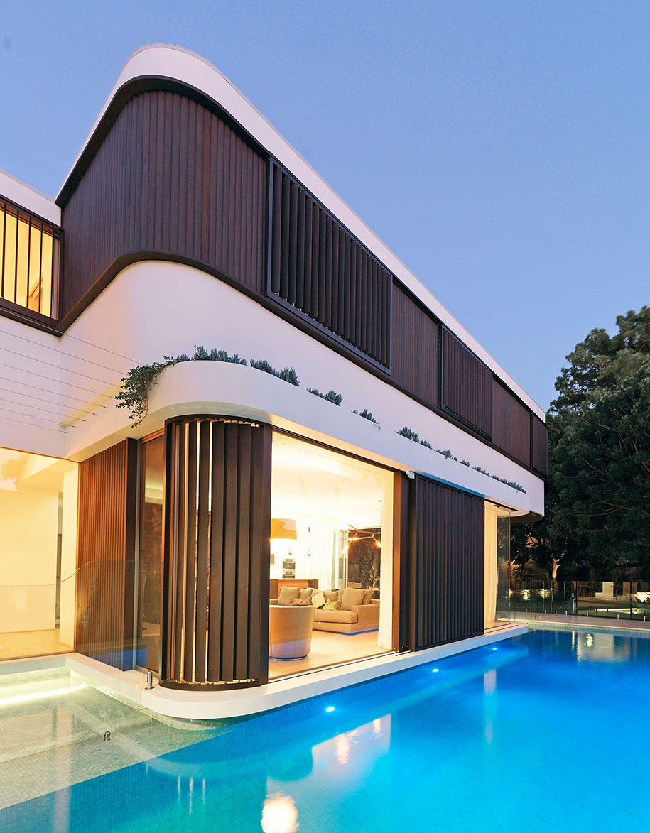 luigi rosselli architects pool house justin alexander curvature
